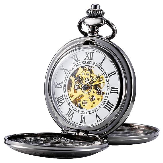 treeweto para hombre esqueleto mecánico reloj de bolsillo, Retro números romanos, mitad Hunter, Negro: Amazon.es: Relojes