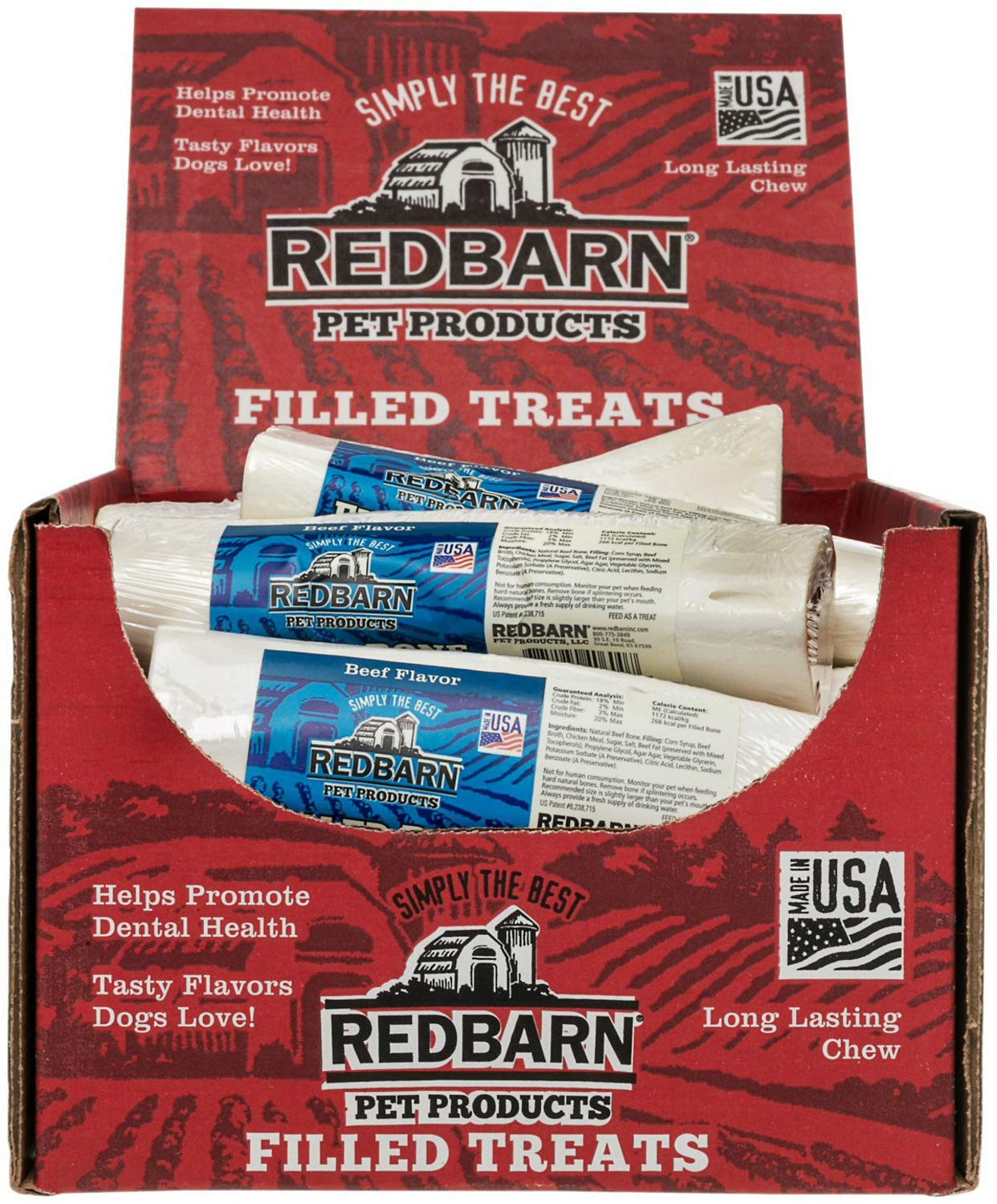 Red Barn Dog Treats Filled Bones Beef, Large (Pack Of 15) by Redbarn Pet Products