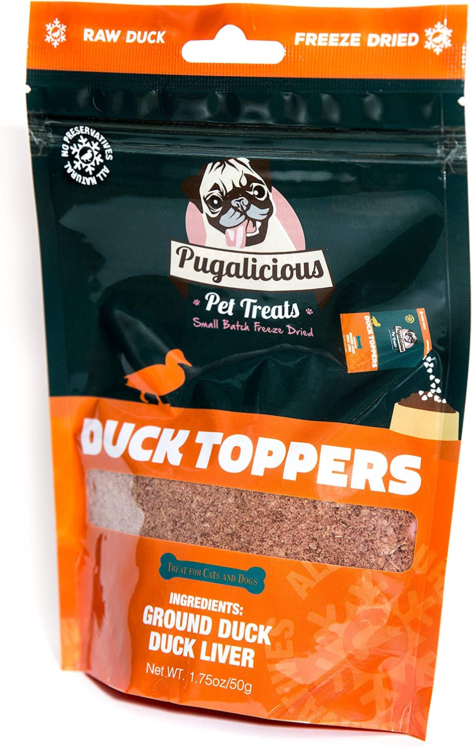 Pugalicious Pet Meal Toppers for Dogs and Cats (1.75oz/50g) (1 Bag), Freeze Dried, 100% Duck Meat and Liver, No Added Preservatives, All Natural, Dog and Cat Food Toppers