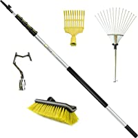 DocaPole 6-24 ft Ultimate Roof Cleaning Kit with 20 Inch Roof Rake // 4 Inch Roof & Shrub Rake // Big-Reach Pole Hook // Hard Bristle Scrub Brush