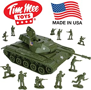 TimMee Toy Walker Bulldog Tank Playset- Olive Green 13pc - Made in USA