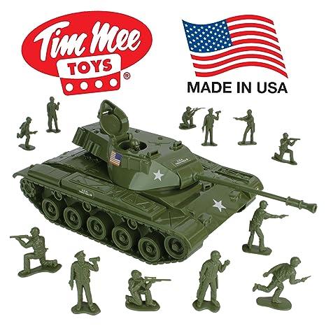 Amazon Com Timmee Toy Walker Bulldog Tank Playset Olive Green 13pc