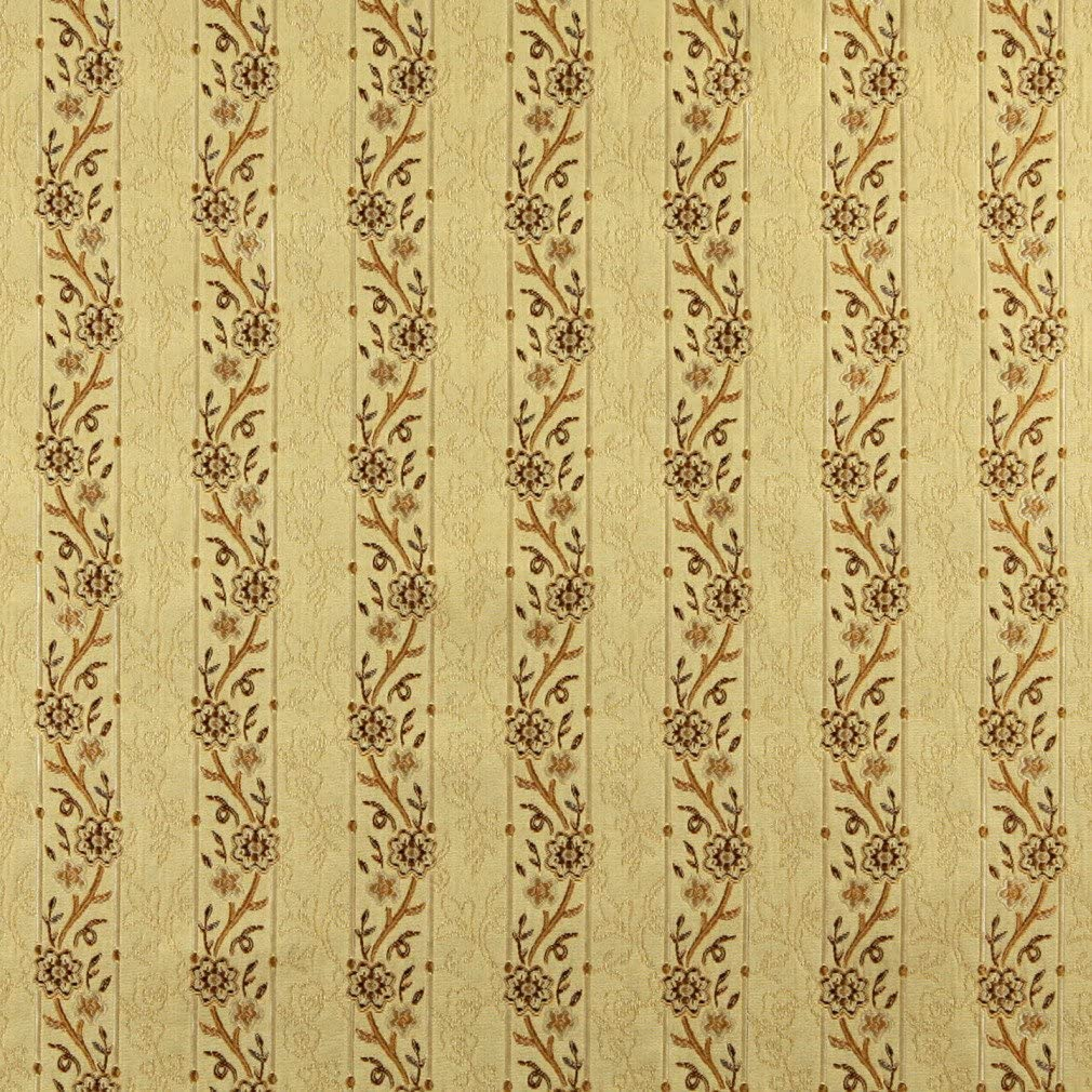 A0013H Gold Brown and Ivory Embroidered Striped Floral Brocade Upholstery and Window Treatments Fabric by The Yard