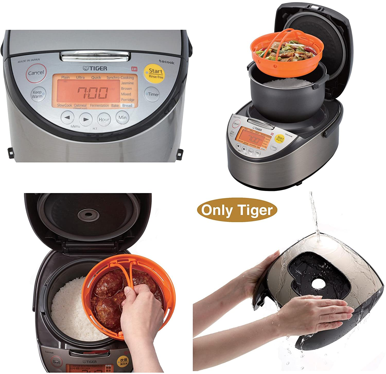 Tiger JKT-S10U-K IH Rice Cooker with Slow Cooking and Bread Making Function Stainless Steel Black 5.5-Cup