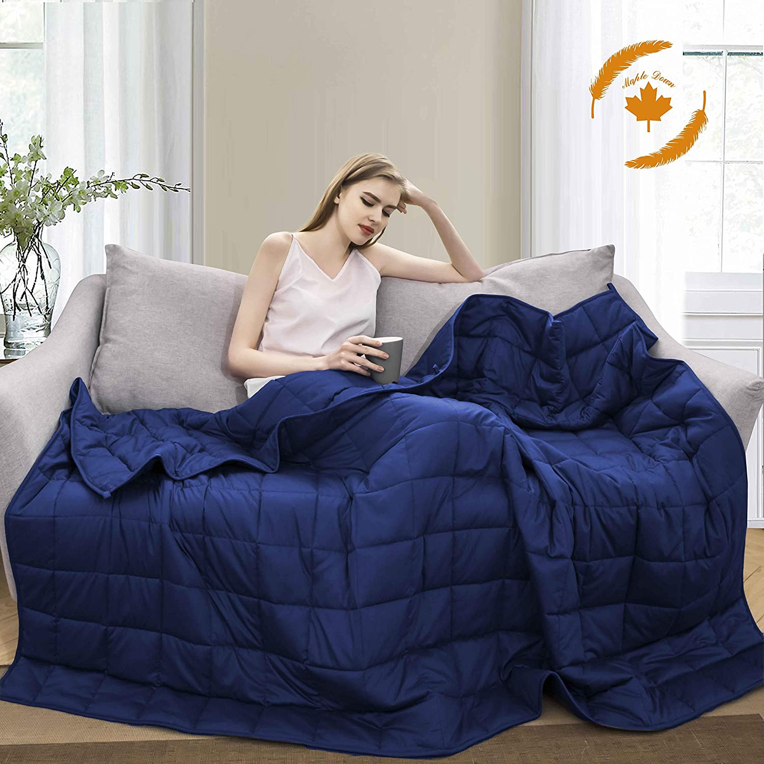 Maple Down Weighted Blanket for Adult 15 lbs Heavy Blanket, Twin Size, 7-Layer Cooling Weighted Blanket, 100% Cotton with Glass Beads, Body Weight Between 130lbs - 160lbs(Navy Blue)