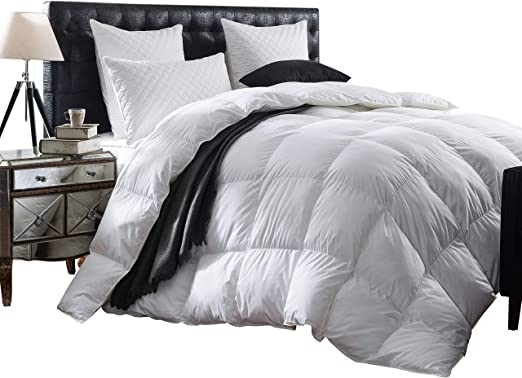 Luxurious 1200 Thread Count Goose Down Comforter Duvet Insert Twin Size 1200tc 100 Egyptian Cotton Cover Hypoallergenic 50 Oz Fill Weight White Color Amazon Co Uk Kitchen Home