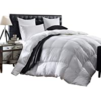 Egyptian Bedding Luxurious 1200 Thread Count Goose Down Comforter, 1200TC - 100% Egyptian Cotton Cover, 750 Fill Power, 50 Oz Fill Weight, White Color
