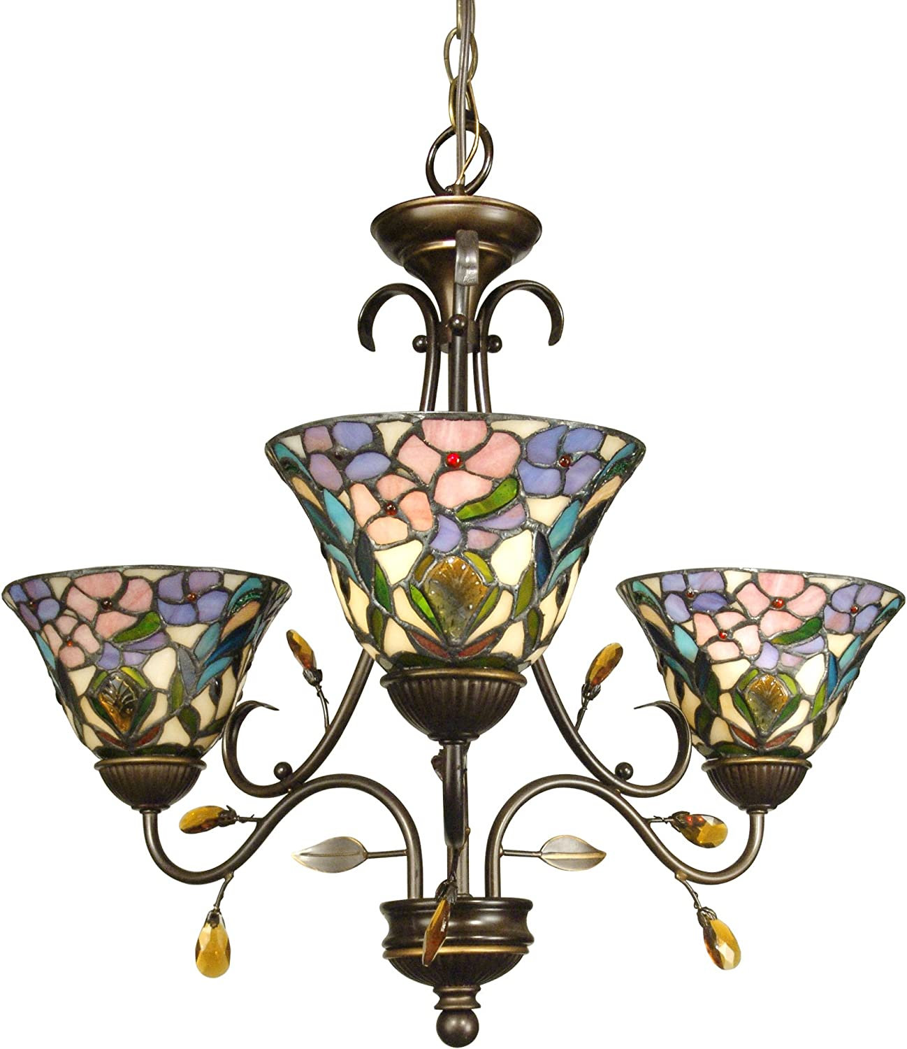 """Diva At Home 24"""" Antique Golden Sand Crystal Peony Hand Crafted Glass Hanging 3-Light Ceiling Light Fixture,TH90214,Purple"""
