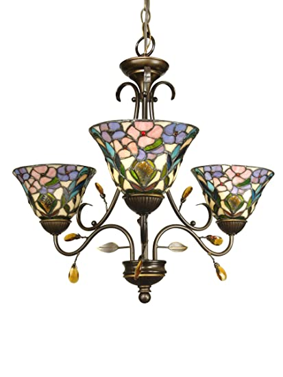 Dale Tiffany TH90214 3-Light Crystal Peony Chandelier, Antique Golden Sand  and Art Glass - Dale Tiffany TH90214 3-Light Crystal Peony Chandelier, Antique