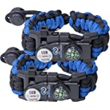 Survival Paracord Bracelet set for Women or Men used in emergency outdoor situations with 550 adjustable tactical grade and multi tool kit, fire starter, compass, whistle and more - 2 PACK