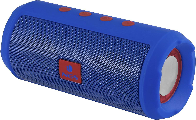 NGS Altavoz Bluetooth Azul Marino Roller Tumbler - Altavoz portátil con USB, Micro SD, Radio FM, Manos Libres y batería de 1200mAh