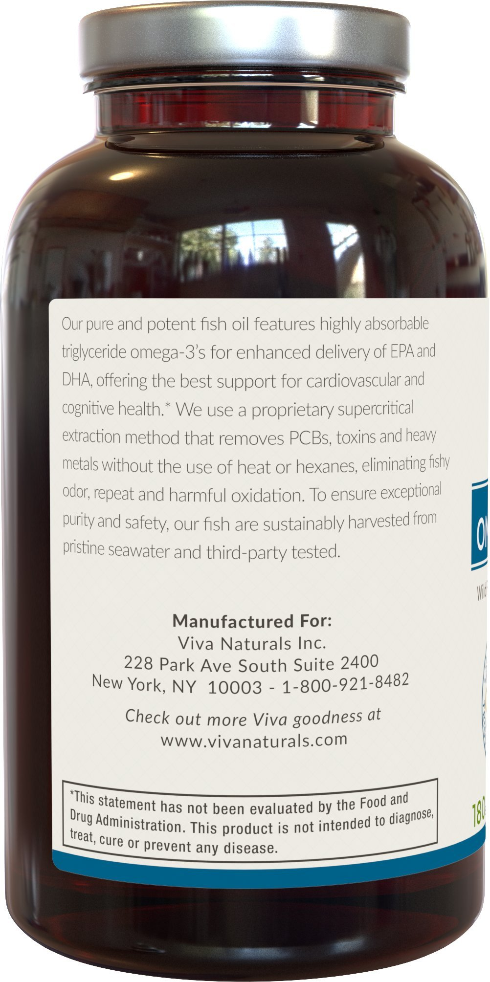 Galleon viva naturals omega 3 fish oil supplement 180 for Viva fish oil