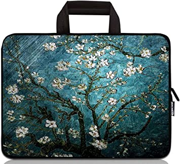 Blue Flowers Floral Laptop Case 13 Inch Carrying Case with Strap