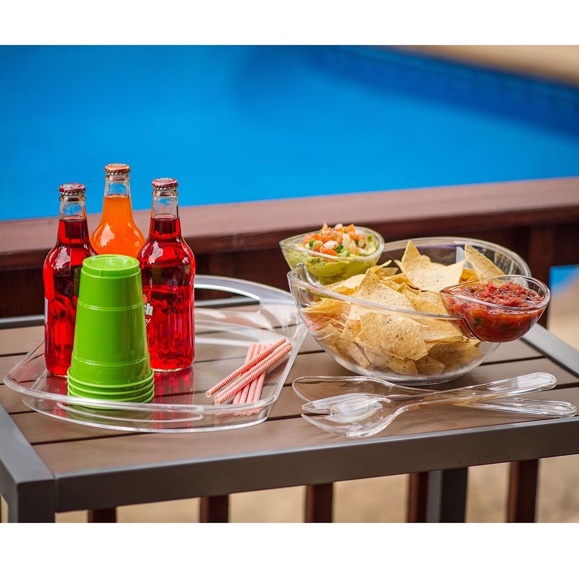 6-Piece Acrylic Serving Set Chip & Dip Salad Fruit Bowl Serving Tray Party Pack