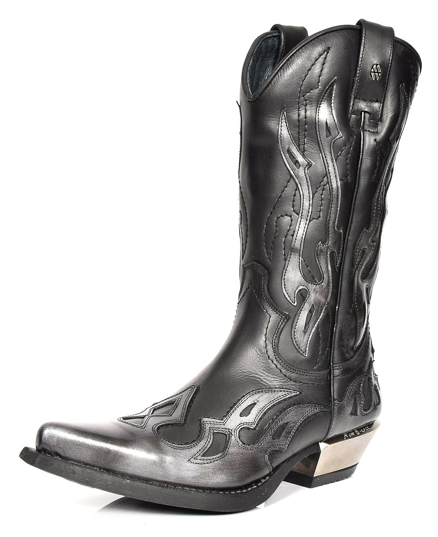 New Rock Leder Cowboy Stiefel Grau Flamme Entwurf Spitzschuh Schuhe Western Heels