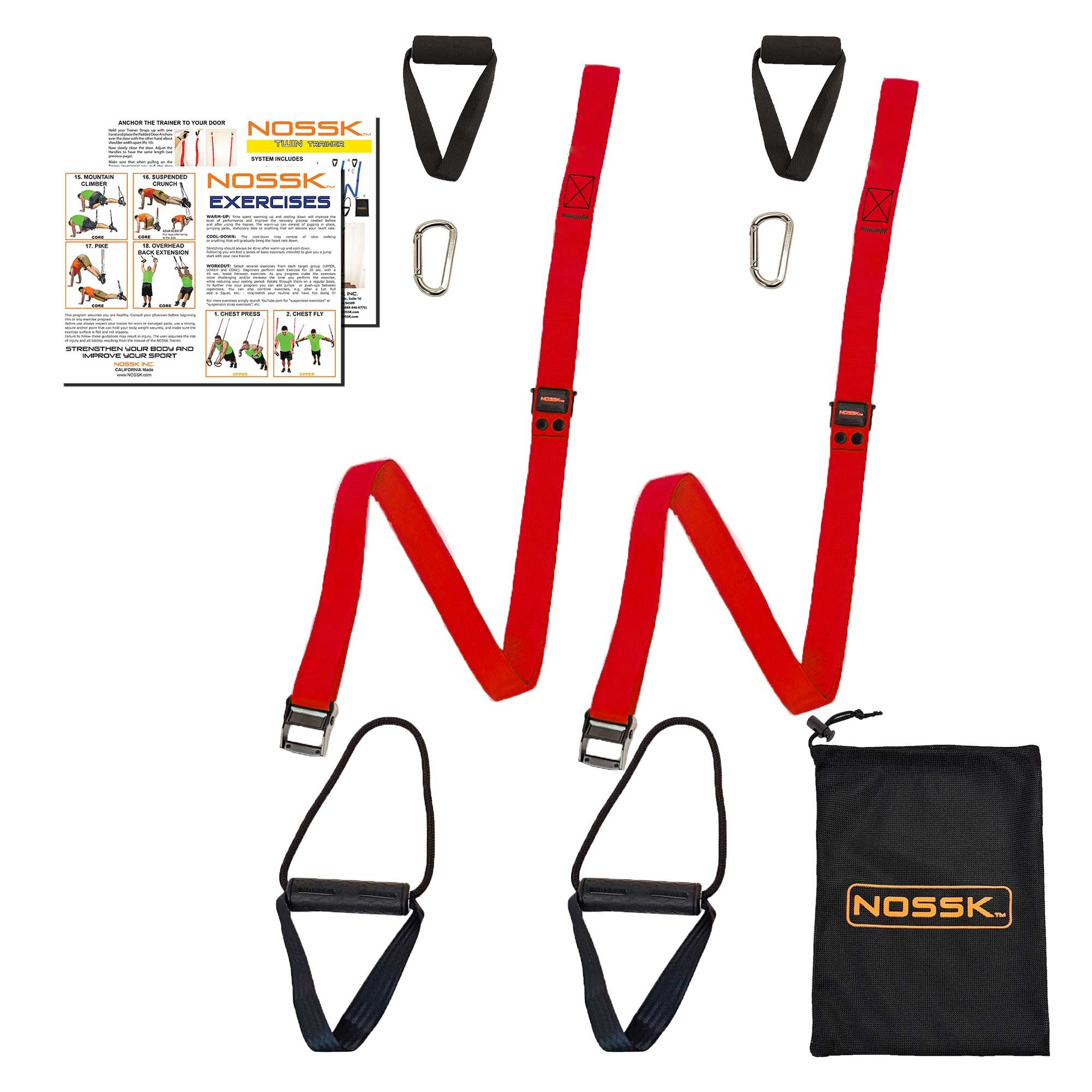 NOSSK TWIN PRO Bodyweight Fitness Strap Trainer (Red)