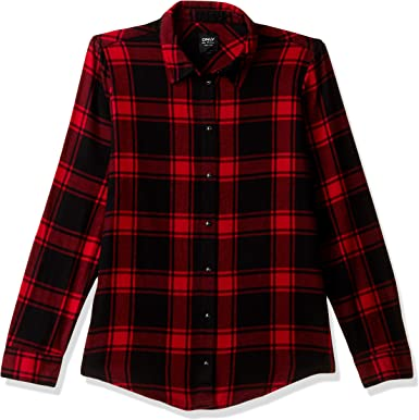 Only Onlrock It Loose LS Red Check Dnm Camisa para Mujer: Amazon.es: Ropa y accesorios