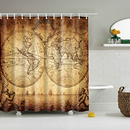 Chengsan Wanderlust Decor Shower Curtain Set By Old World Map Drawn In 1720s Nostalgic Style