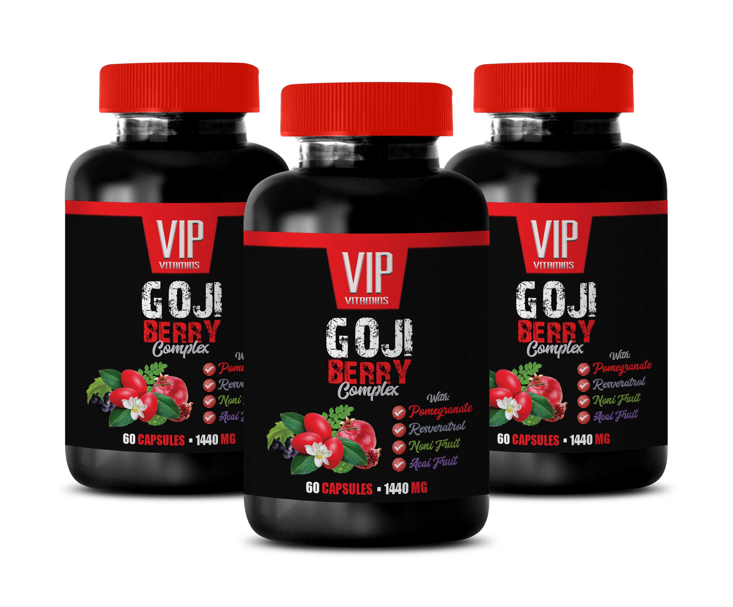 Weight Loss multivitamin for Men - Goji Berry Complex - with Pomegranate, RESVERATROL, NONI, ACAI - Acai Berry Pills - 3 Bottles 180 Capsules