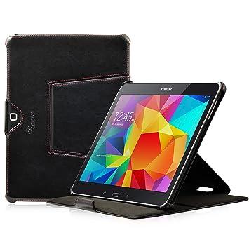 Manna Leicke Funda protección Carcasa para Samsung Galaxy Tab 4 T530 T535 | Piel Genuina Función Soporte y EasyStand | Color Negro con Costuras en ...