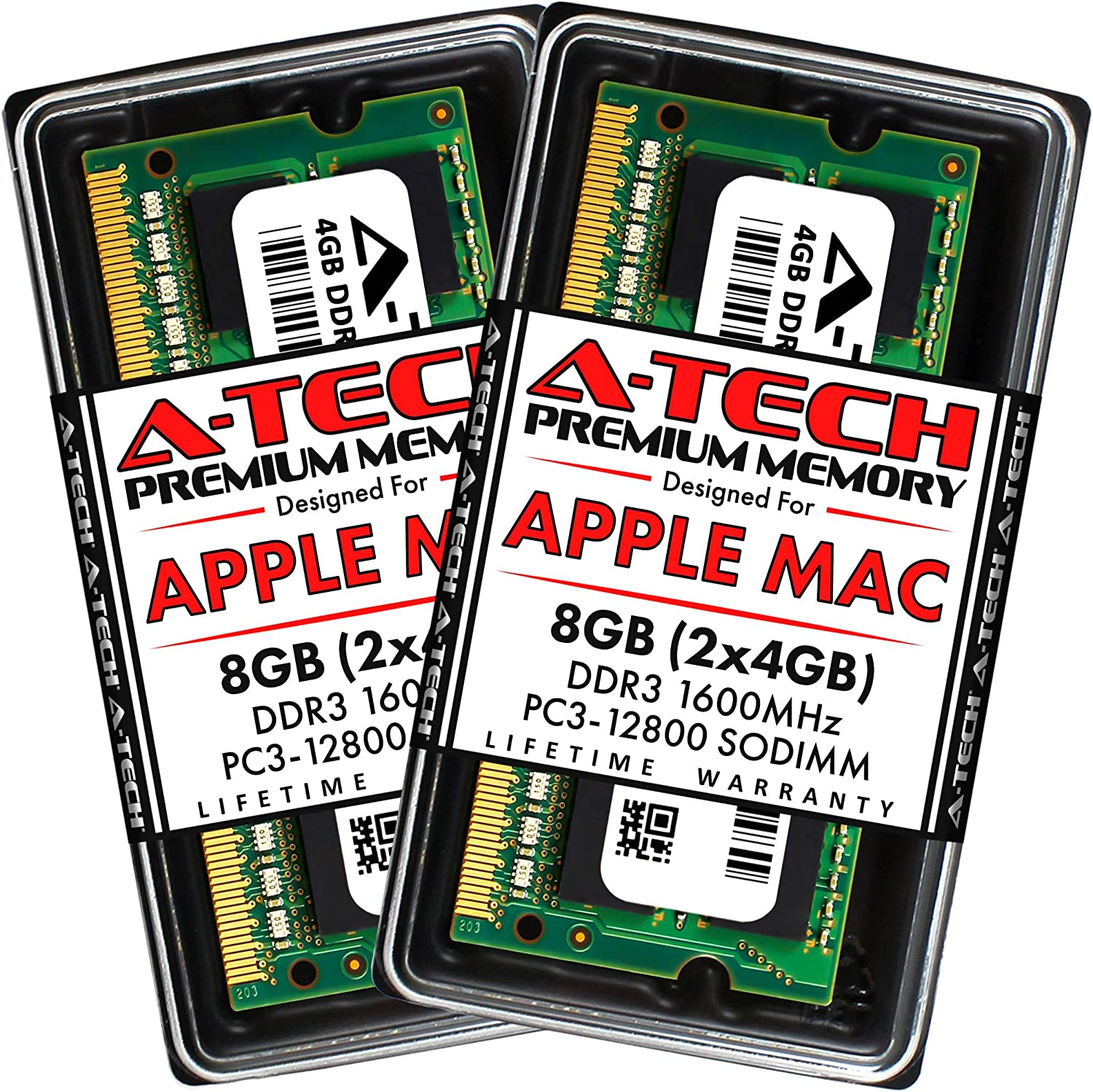 A-Tech 8GB Kit (2x4GB) DDR3 1600MHz RAM for Apple MacBook Pro (Mid 2012), iMac (Late 2012, Early/Late 2013, Late 2014, Mid 2015), Mac Mini (Late 2012) | PC3-12800 SODIMM 204-Pin Memory Upgrade