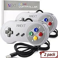 2 Pack SNES Super Controller, iNNEXT Retro USB Super Classic Controller PC Mac Linux Raspberry Pi 3 Steam Sega Genesis Higan (Multicolored Keys)