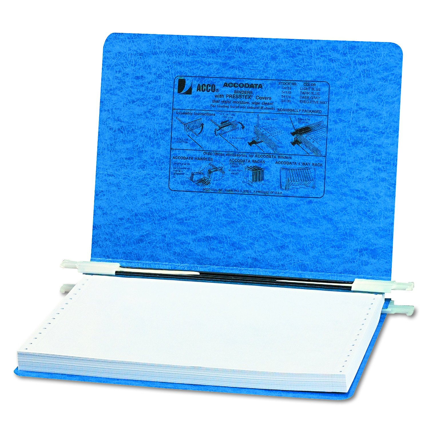 ACCO Pressboard Hanging Data Binder, 12 x 8.5 Inches Unburst Sheets, Light Blue (54132) ACCO Brands