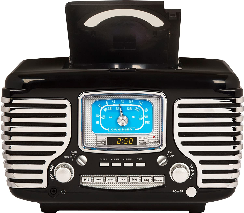 Amazon.com: Crosley CR612D-BK Corsair Retro AM/FM Dual Alarm Clock ...