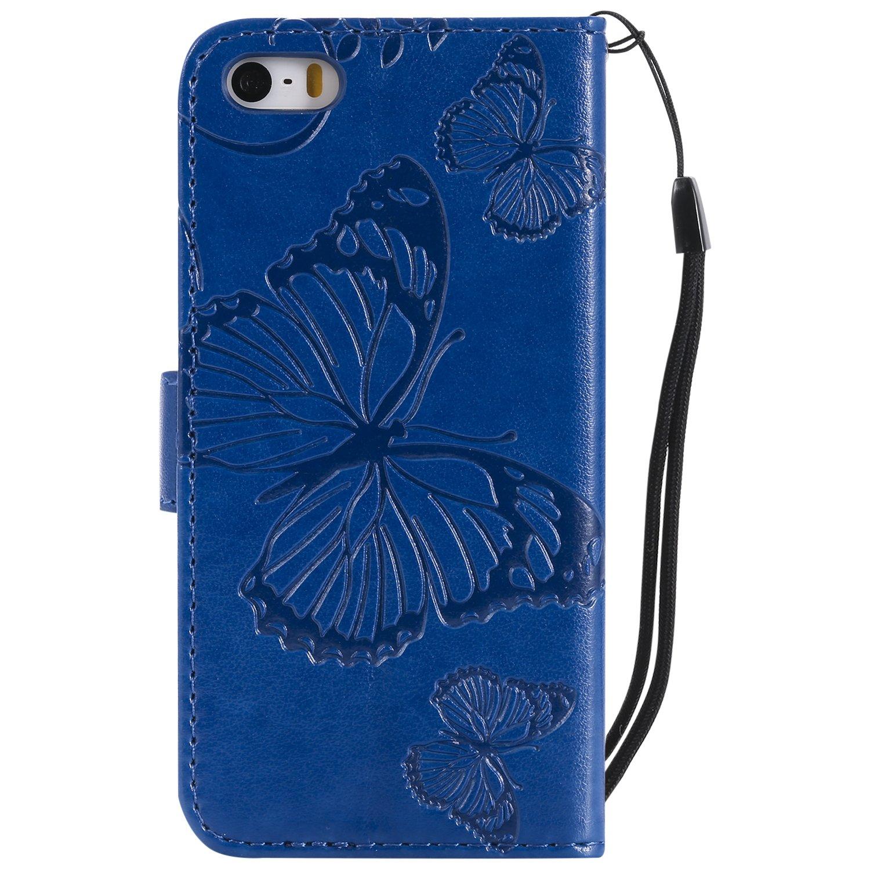 3D Kreativ Muster Elegant Muster Schutzh/ülle Flip Wallet Cover Leder Magnetisch Etui f/ür Apple iPhone 5//SE//5S Gr/ün Misteem H/ülle f/ür iPhone 5S 5//SE Schmetterlings Blume