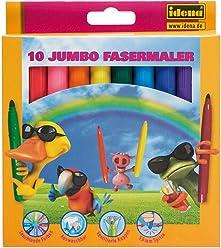 Idena 621423 - Fasermaler Jumbo, 10 Stück in Kartonetui