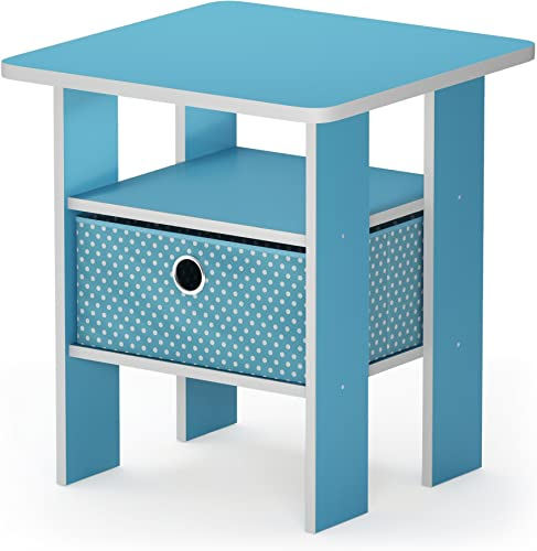 FURINNO Andrey End Table Nightstand with Bin Drawer, 1-Pack, Light Blue Light Blue