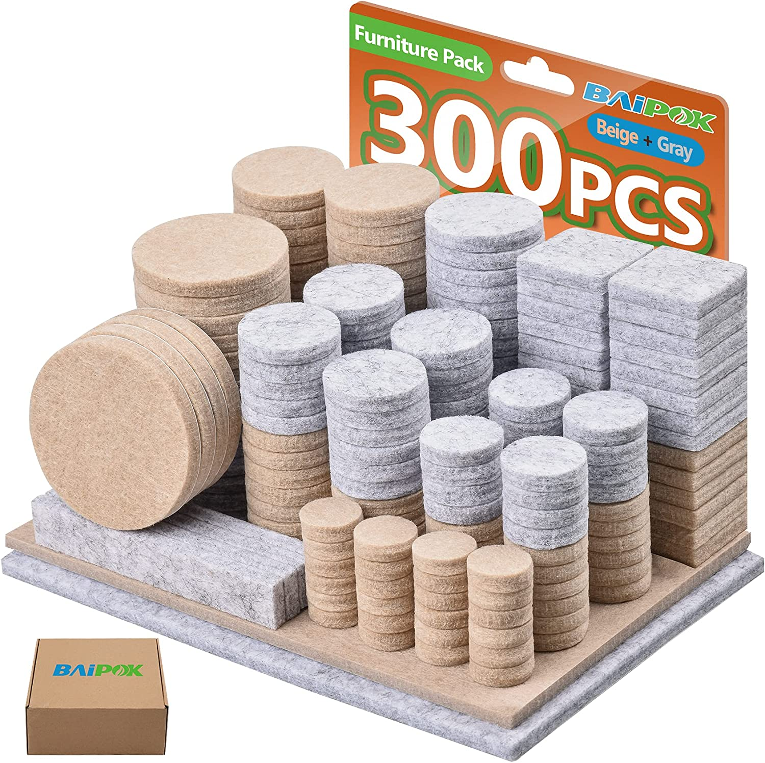 Felt Pads 300 Pcs Premium Furniture Pads Two Colors (Beige 130 + Gray 110), Various Sizes Self Adhesive Chair Leg Pads, Anti Scratch Floor Protectors for Furniture Hard Floor with 60 Cabinet Bumpers