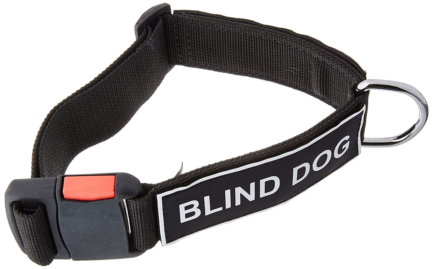 Dean and Tyler Patch Collar , Nylon Dog Collar with Blind Dog Patches Black Size  Medium Fits Neck 21-Inch to 26-Inch
