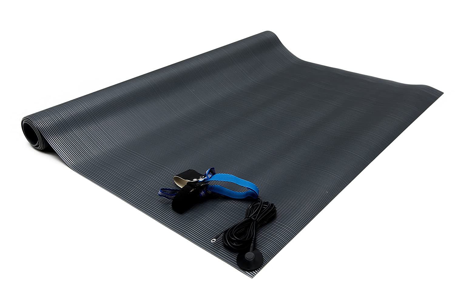 Gray Made in USA Bertech ESD PVC Floor Runner Kit with a Heel Grounder and Grounding Cord 4 Wide x 8 Long x 0.125 Thick