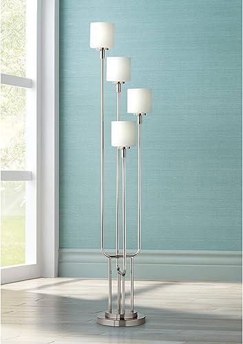 Modern Floor Lamp 4-Light Tree Brushed Steel White Frosted Gla
