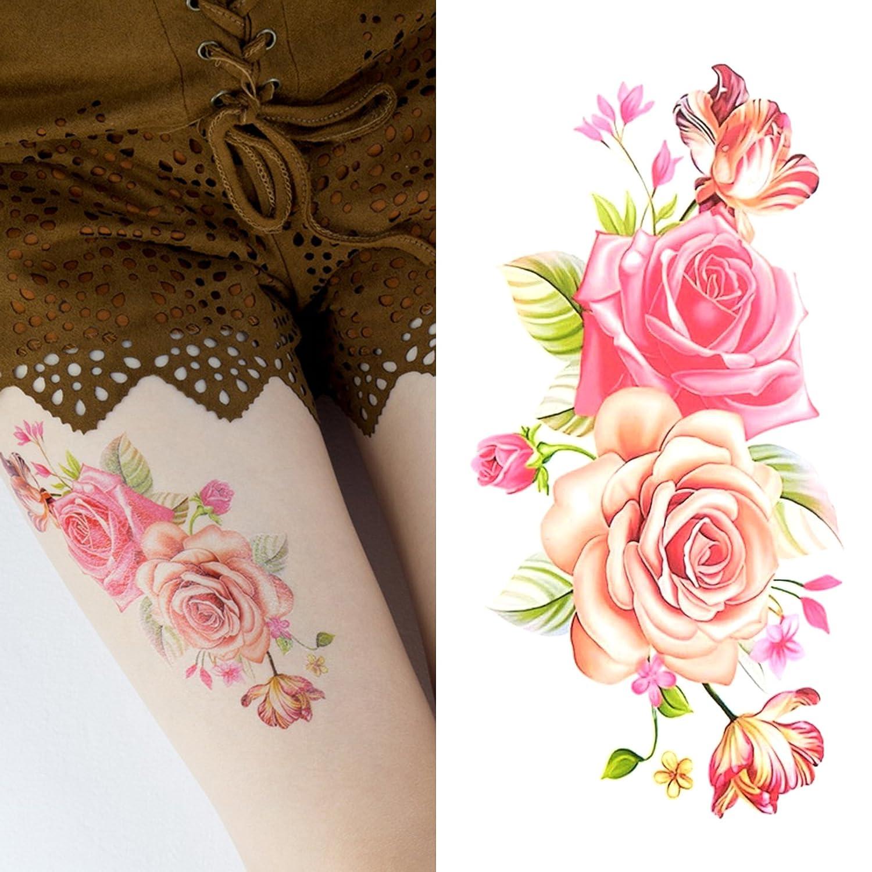 Oottati Tatuajes Temporales Mujer Mariposa Rosa (2 hojas): Amazon ...