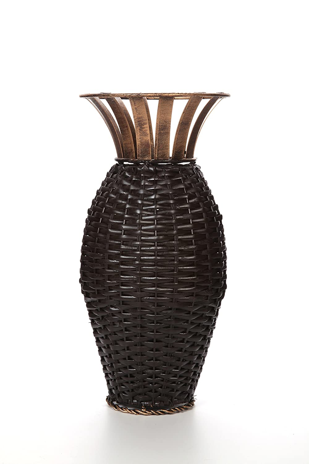 """Hosley's 15"""" High Iron Weave Floor Vase-Brown and Gold. Ideal for Wedding, Party, Home, Spa, Reiki, Aromatherapy, Votive Candle Gardens O3"""