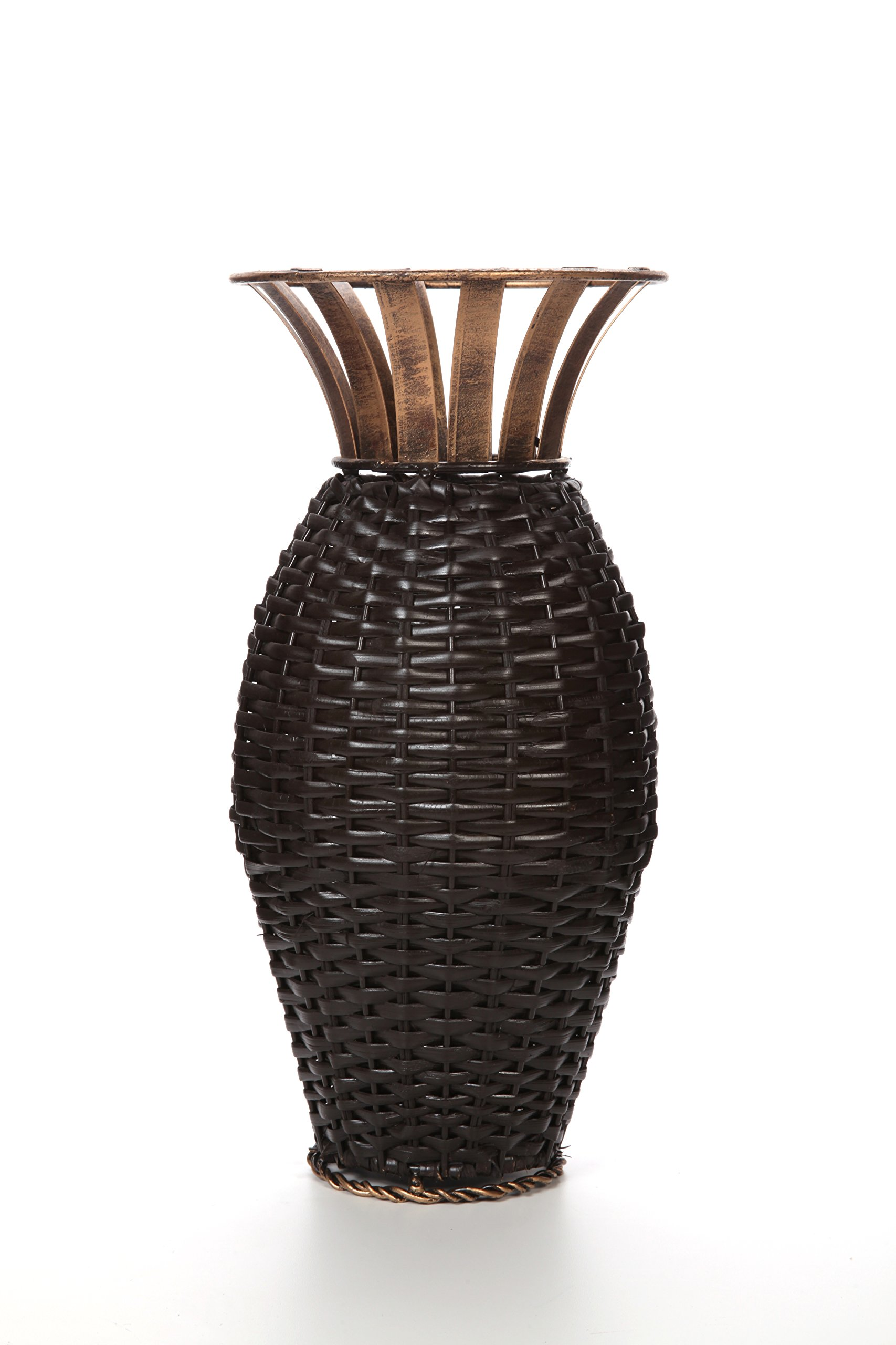 Hosley's 15'' High Iron Weave Floor Vase-Brown and Gold. Ideal for Wedding, Party, Home, Spa, Reiki, Aromatherapy, Votive Candle Gardens O3