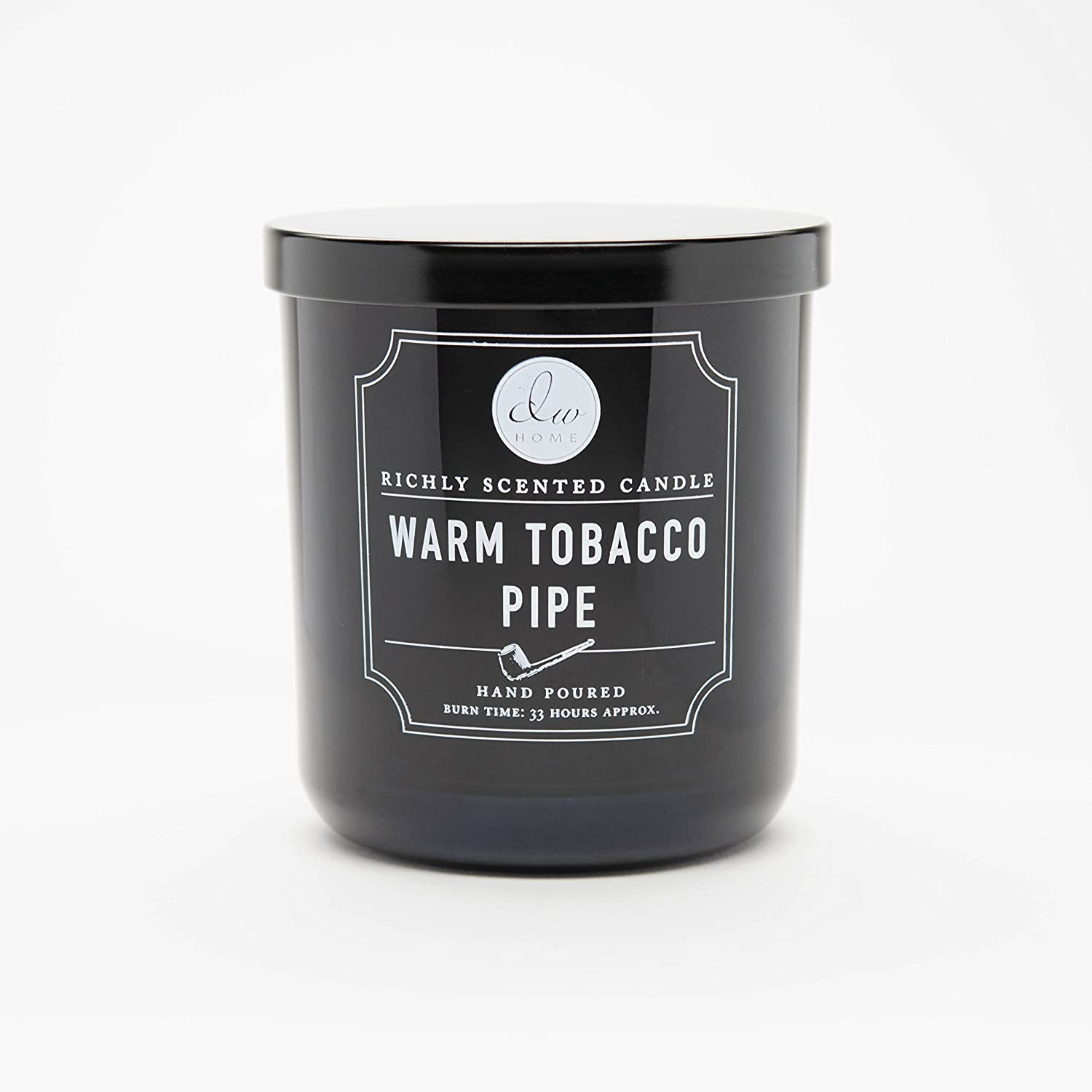 DW Home Medium Single Wick Candle, Warm Tobacco Pipe,Black,10.35 Oz.