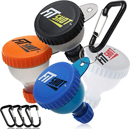 FitShot embudo de proteína en polvo pequeño – Fill N Go Suplemento embudo con llavero 4 unidades, embudos de botella de agua, sin BPA, portátil 40 ml, ...