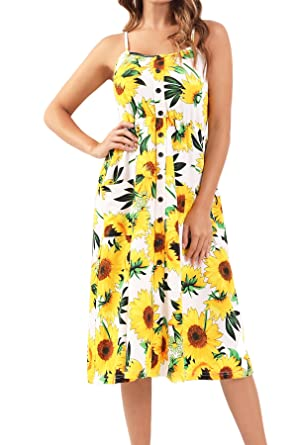 1bb2a1dcfe Bzonly Womens Floral Dresses Summer Country Dress Spaghetti Strap Button  Down Midi Dress Pockets