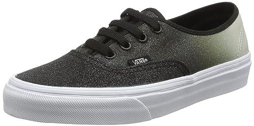 856a0416b4 Vans Authentic 2 Tone Glitter Silver Black Skate Shoes  Amazon.ca ...