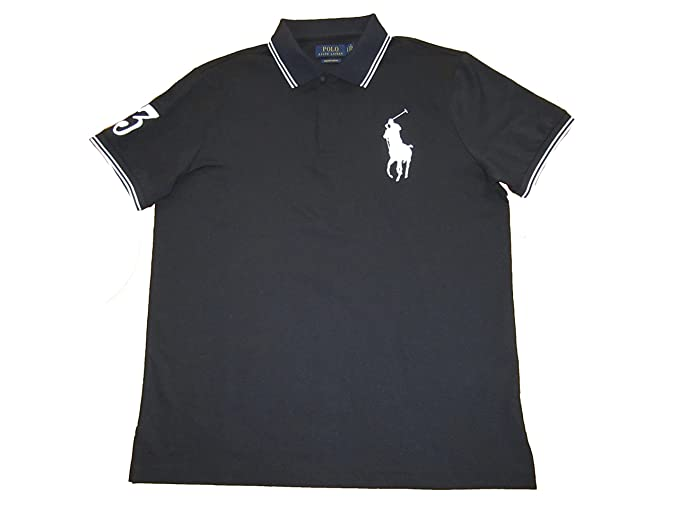 f3044e352b0 RALPH LAUREN Polo Mens Custom Slim Fit Big Pony Stretch Polo Shirt (Medium