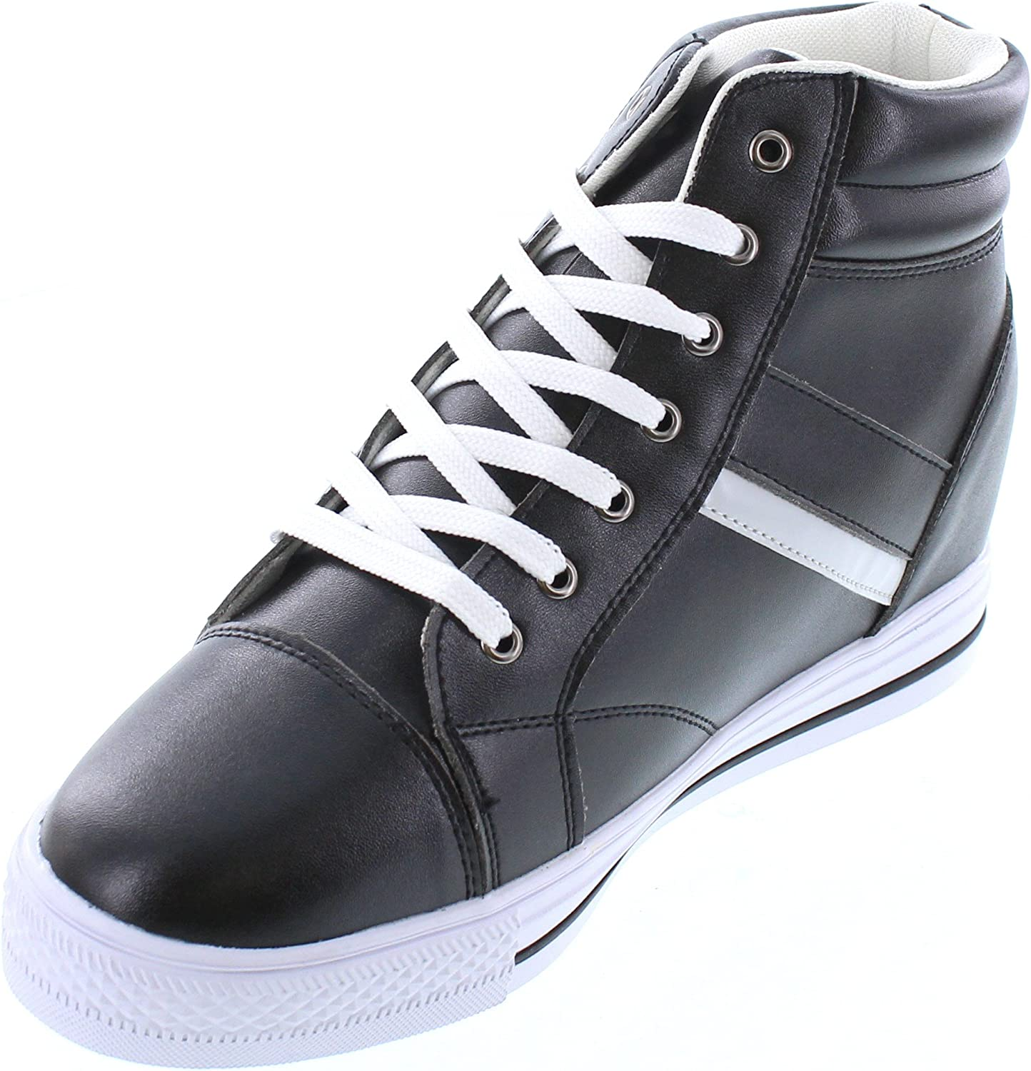 3 Inches Taller Calden Mens Invisible Height Increasing Elevator Shoes K107221 Black//White Leather Lace-up High-top Fashion Sneakers