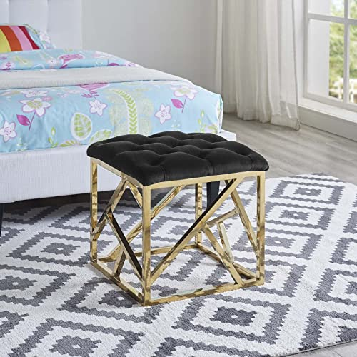 Modway Intersperse Tufted Modern Ottoman With Gold Stainless Steel Geometric Frame In Gold Black
