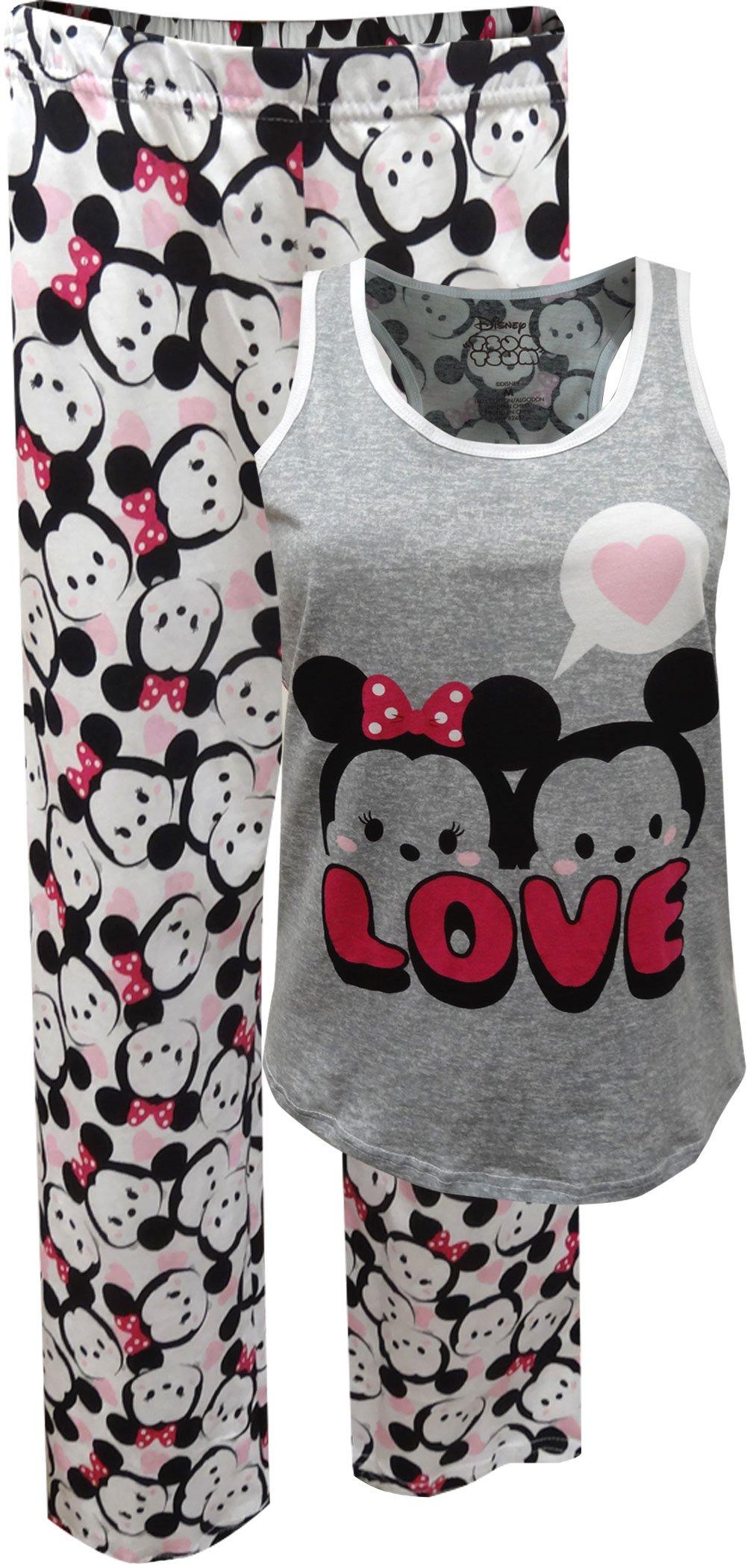 Disney Women's Tsum Tsum 2-Piece Cotton Jersey Pajama Set, Gray, XL