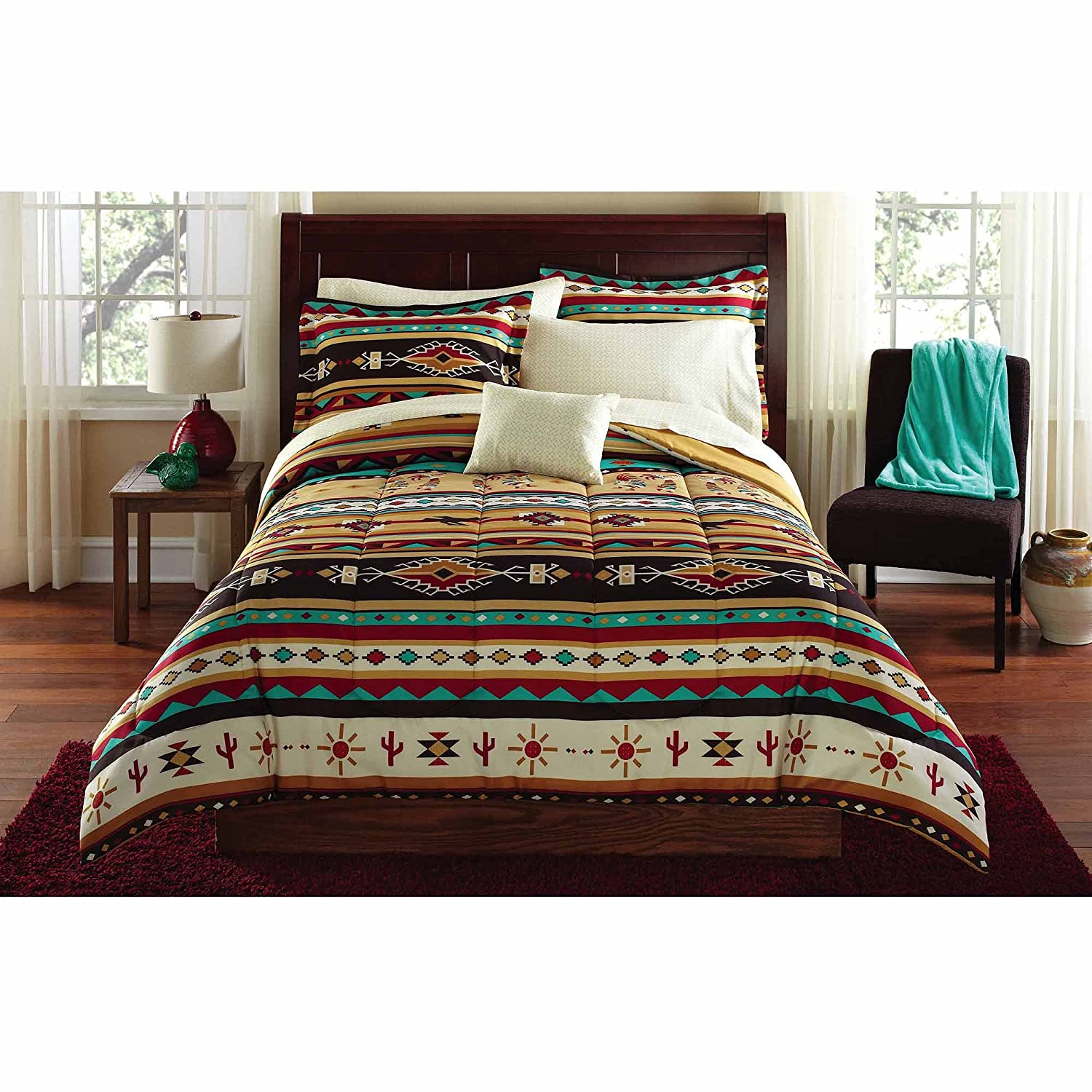 Southwest Turquoise Tan Red Native American Queen Comforter Set 8 Piece Bed In A Bag