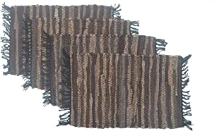 """Chardin Home – Eco-Friendly Recycled Leather placemats (Set of 4 mats - Size 13""""x19"""", Tan Brown."""