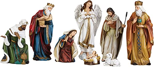 Holy Family Nativity Scene with Angel, 3 Kings, Sheep 9 inch Resin Stone Tabletop Figurines 8 Piece Set