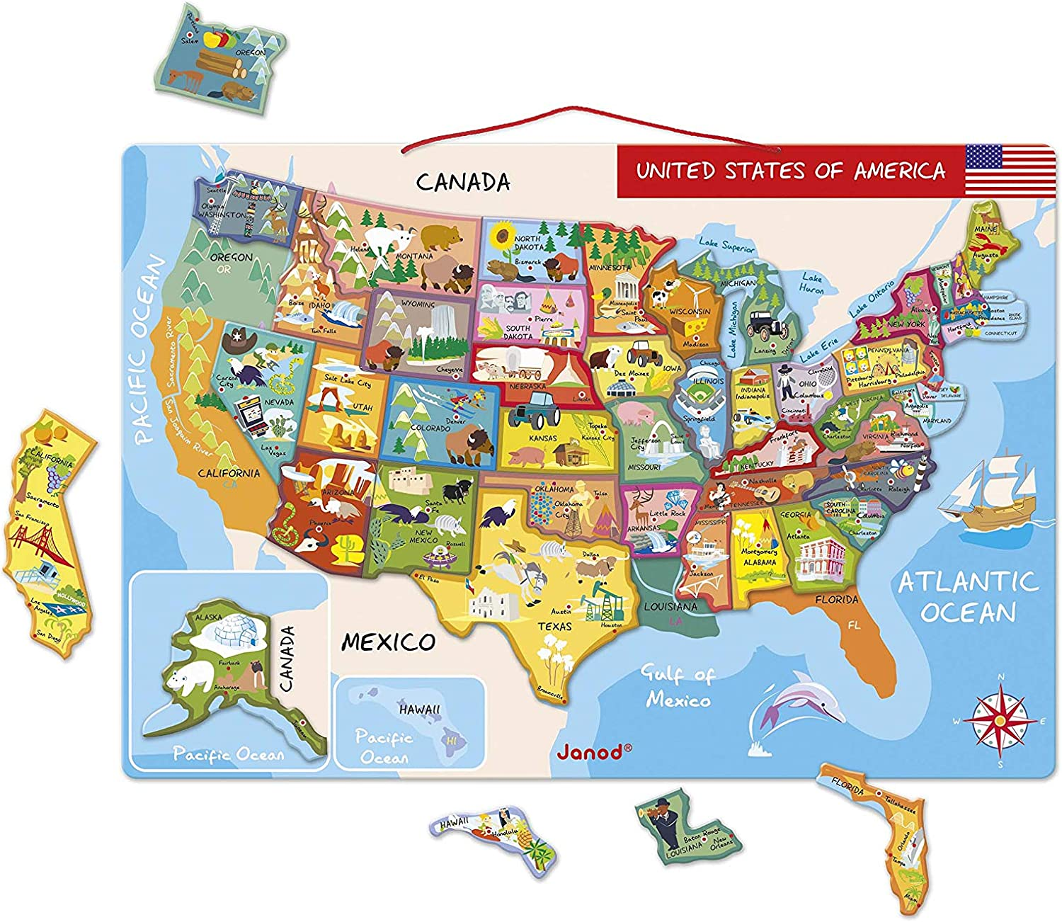 Amazon Com Janod Magnetic Usa Map 19 7 Inches X 13 4 Inches